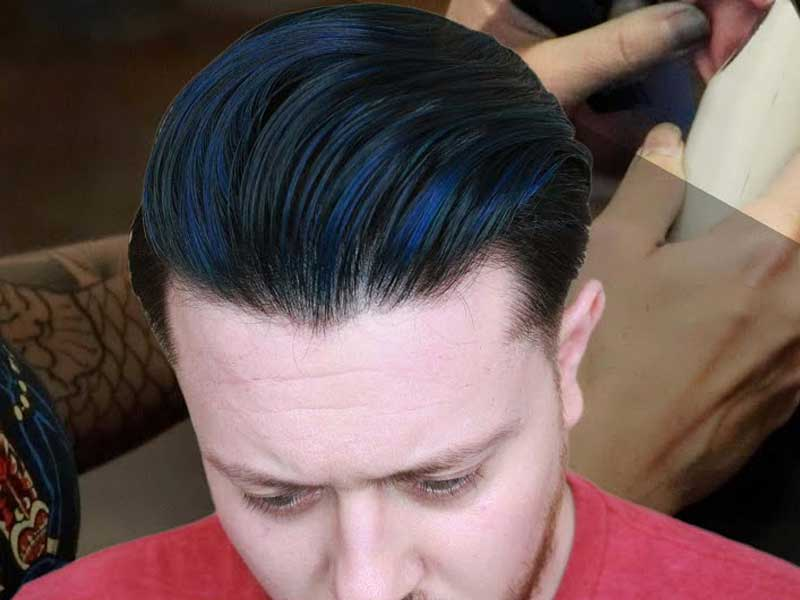 Black Hair with Blue Hightlights